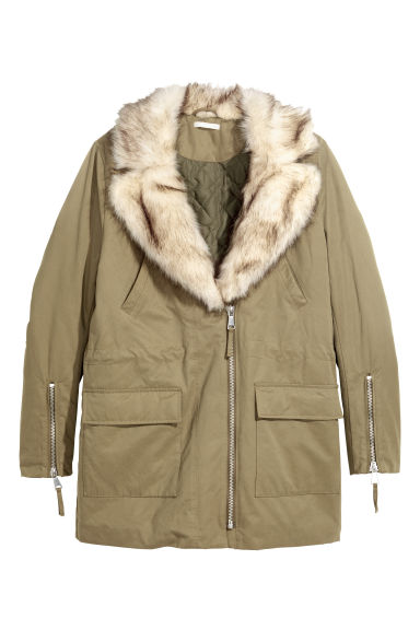 Parka with a faux fur collar - Light khaki green -  | H&M GB