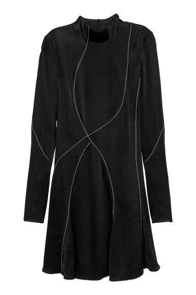 Dress with a stand-up collar - Black - Ladies | H&M GB