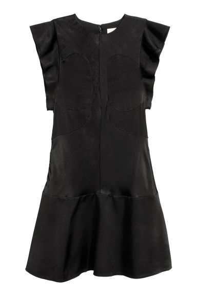Frill-sleeved dress - Black -  | H&M GB