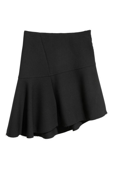 Asymmetric wool-blend skirt - Black - Ladies | H&M