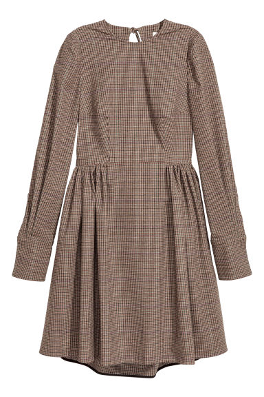 Cotton-blend dress - Brown/Black checked - Ladies | H&M IE