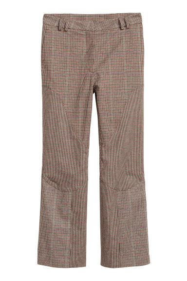 Cropped trousers - Brown/Black checked -  | H&M