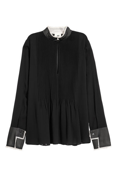 Chiffon blouse with pin-tucks - Black -  | H&M GB