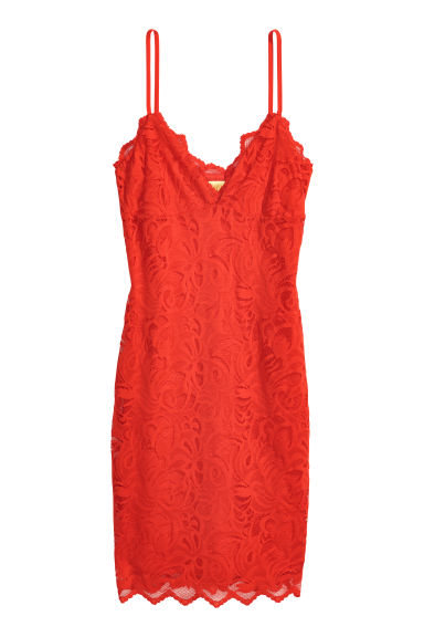 Lace dress - Bright red - Ladies | H&M CN