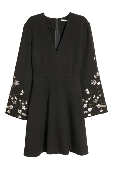 Embroidered dress - Black -  | H&M GB