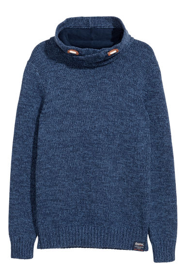 Funnel-collar jumper - Blue marl - Kids | H&M