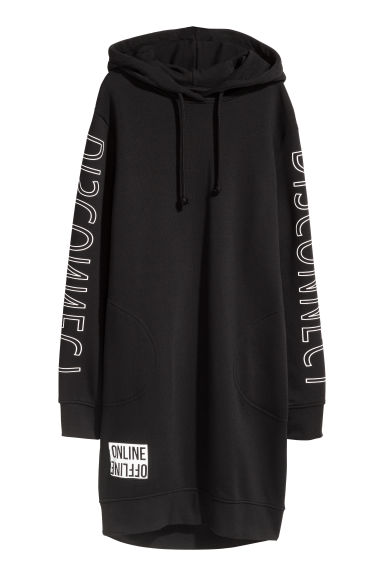 Hooded sweatshirt dress - Black - Ladies | H&M