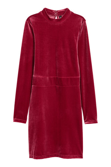 Fitted velvet dress - Raspberry red - Ladies | H&M GB