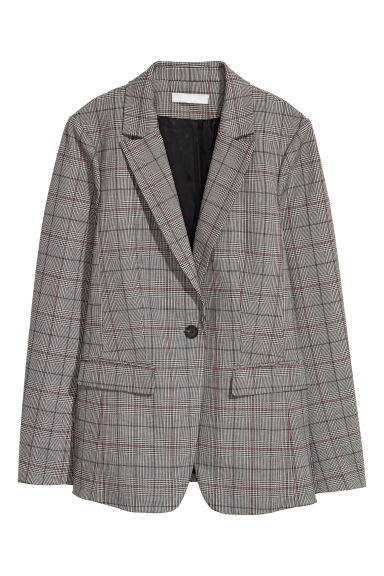 Single-breasted jacket - Grey/Dogtooth-patterned - Ladies | H&M IE