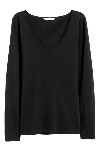 Long-sleeved jersey top - Black -  | H&M CN