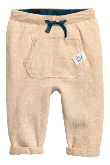 Textured-knit trousers - Beige - Kids | H&M CN