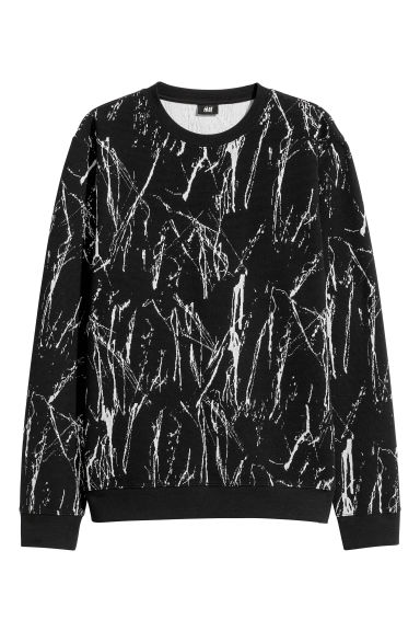 Jacquard-knit jumper - Black/White patterned -  | H&M