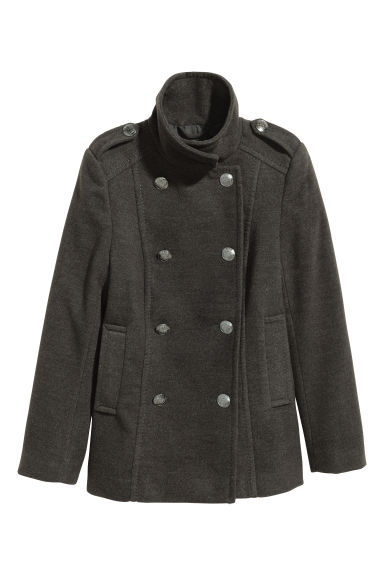Pea coat - Dark grey -  | H&M