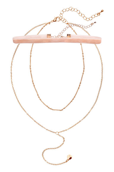 2-pack chokers - Powder pink/Gold-coloured - Ladies | H&M