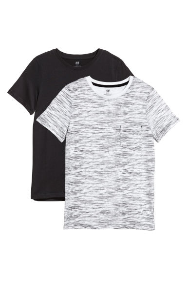 2-pack T-shirts - Black/White marl -  | H&M CN