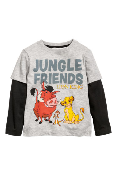 Jersey top - Grey marl/The Lion King -  | H&M