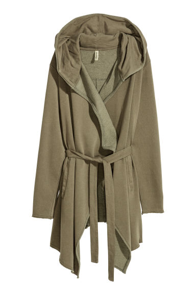 Hooded sweatshirt cardigan - Dark khaki green - Ladies | H&M GB