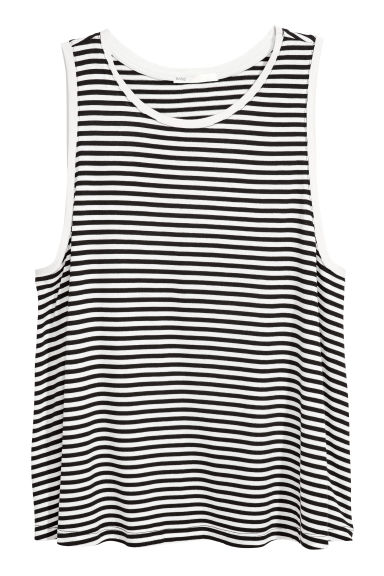 Viscose jersey vest top - White/Striped -  | H&M
