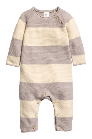 Knitted romper suit - Natural white/Light beige -  | H&M