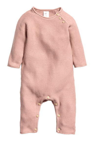 Knitted romper suit - Powder pink -  | H&M
