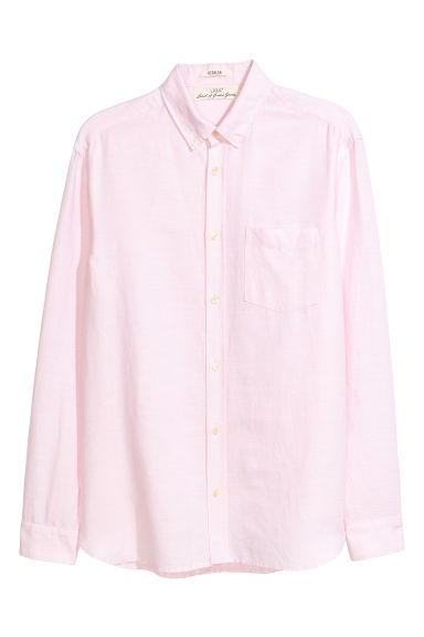 Camicia misto lino Regular fit - Rosa chiaro -  | H&M IT