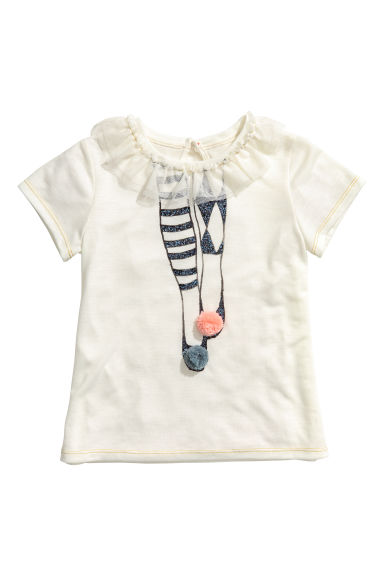 Short-sleeved jersey top - Natural white/Frill - Kids | H&M IE
