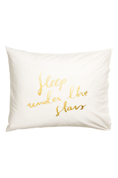 Text-print pillowcase - Natural white/Gold-coloured -  | H&M IE