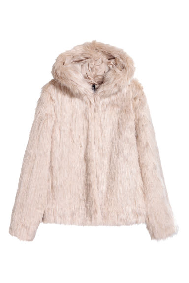 Faux fur jacket - Light beige - Ladies | H&M CN