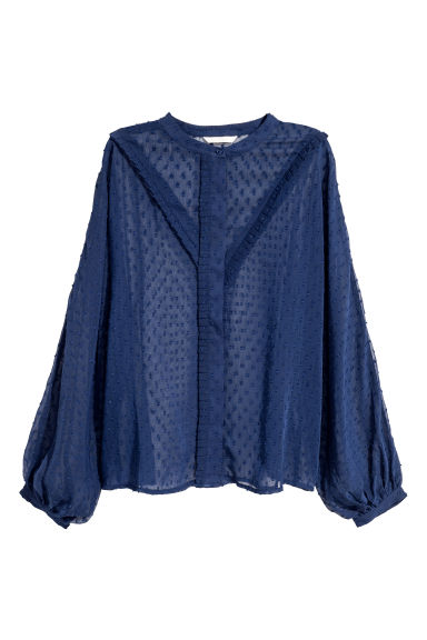 Chiffon blouse - Dark blue -  | H&M GB
