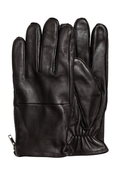 Leather gloves with a zip - Black -  | H&M