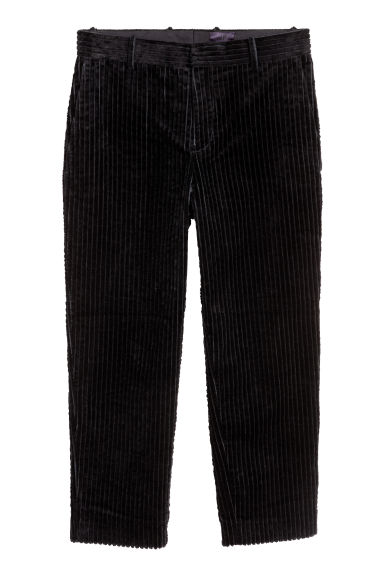 Cotton corduroy trousers - Black -  | H&M CN