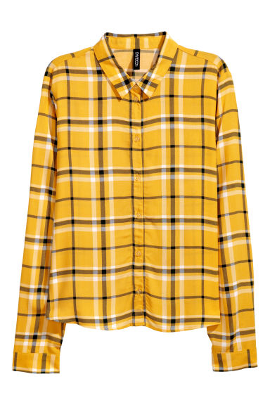 Patterned viscose shirt - Yellow/Green checked - Ladies | H&M CN