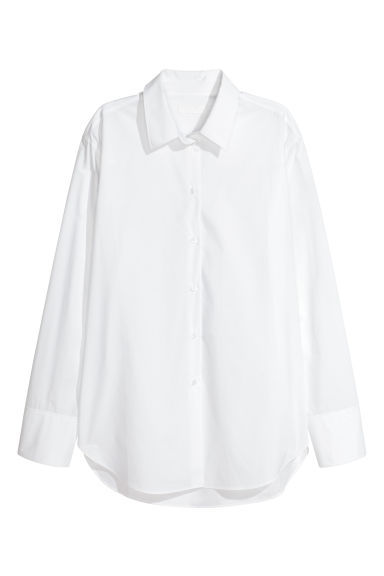 Pima cotton shirt - White - Ladies | H&M
