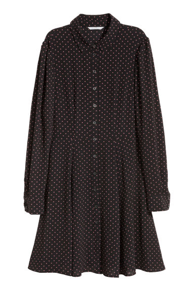 Crêpe dress - Black/Spotted -  | H&M IE