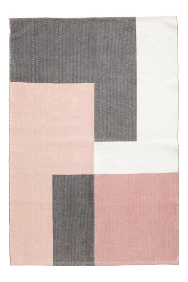 Block-patterned cotton rug - Light pink/Grey -  | H&M CN