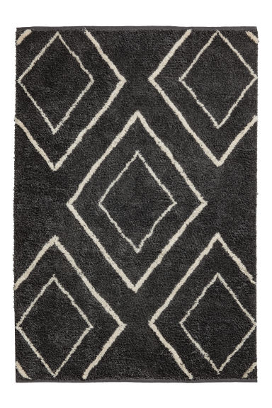 Jacquard-weave wool-blend rug - Anthracite grey/White -  | H&M IE