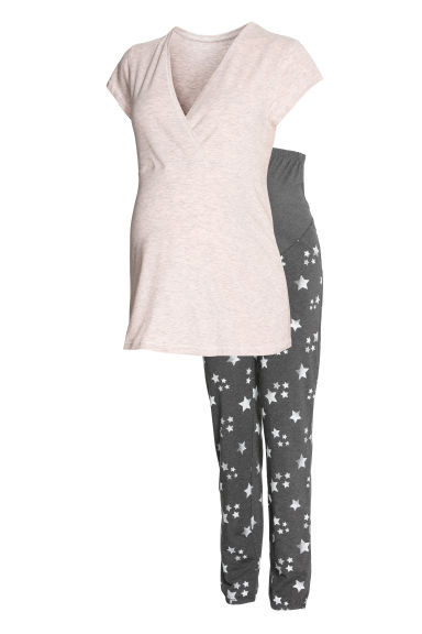MAMA Nursing pyjamas - Powder pink/Stars - Ladies | H&M