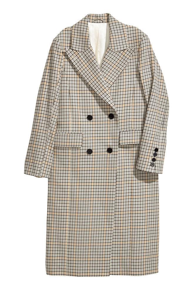 Dwurzędowy płaszcz z bawełny - Jasnobeżowy/Pepitka - ONA | H&M PL 2