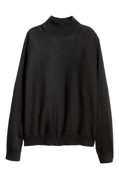 Fine-knit turtleneck jumper - Black -  | H&M IE
