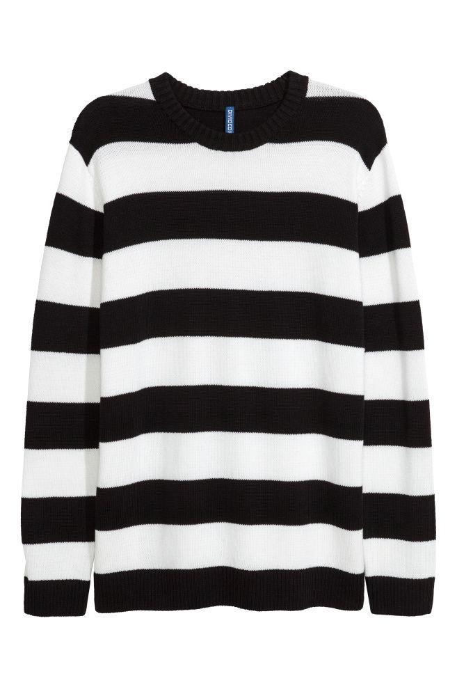 Knit Sweater Blackwhite Striped Men Hm Us
