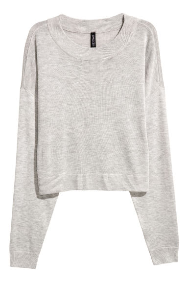 Pull court - Gris clair chiné -  | H&M BE