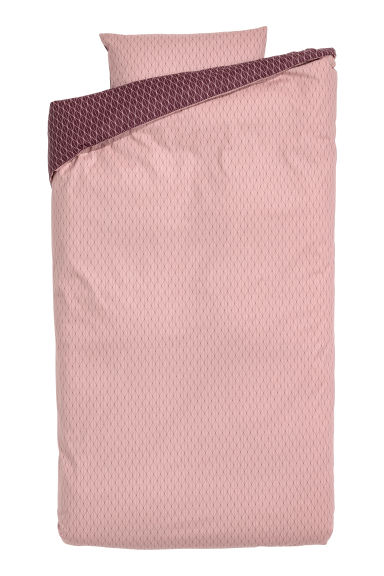 Patterned duvet cover set - Powder pink - Home All | H&M GB