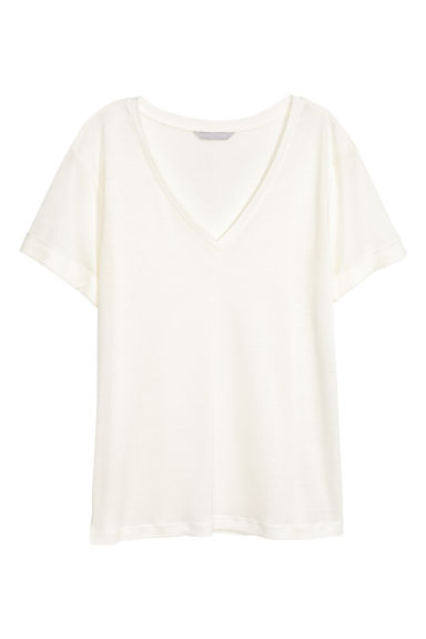 V-neck jersey top - Natural white -  | H&M CN
