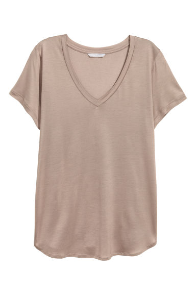V-neck jersey top - Mole - Ladies | H&M GB