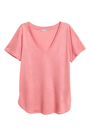 V-neck jersey top - Pink -  | H&M