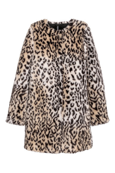 Faux fur coat - Beige/Leopard print - Ladies | H&M