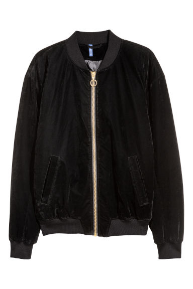 Velour bomber jacket - Black -  | H&M