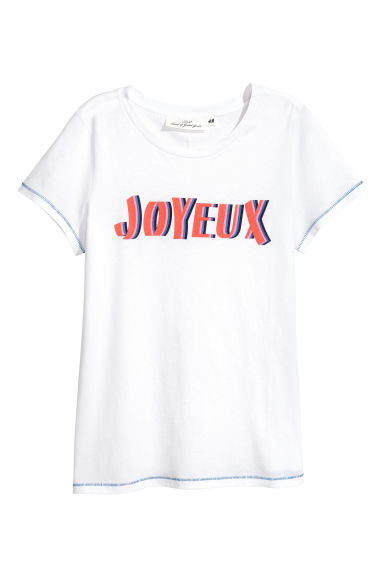 Jersey top - White/Joyeux -  | H&M IE