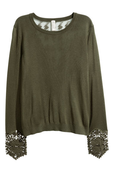 Jumper with lace details - Dark green - Ladies | H&M