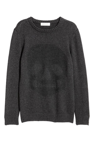 Jacquard-knit jumper - Dark grey/Skull - Kids | H&M GB